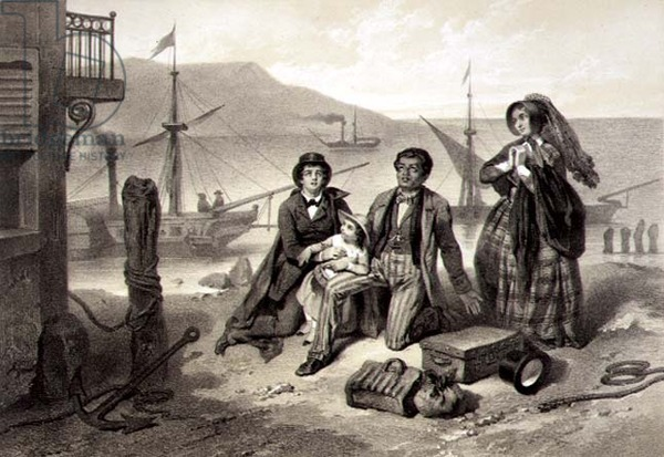 """The Arrival in Canada by Adolphe Jean-Baptiste Bayot, engraved by Claude Regnier as Plate 12 from """"Uncle Tom's Cabin"""""""